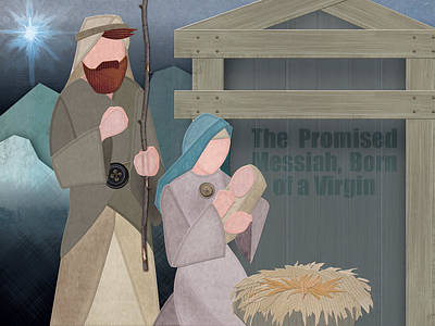 Art Print featuring the drawing Fabric Nativity by Michele Engling