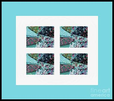 Patchwork Quilts Digital Art - Fabric Swatches Turquoise Border by Barbara Griffin