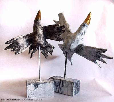 Primitive Mixed Media - Fabulas Free Birds by Mark M  Mellon