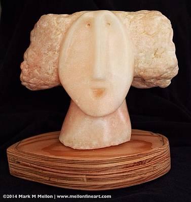 Alabaster Sculpture - Fabulas The Maiden  by Mark M  Mellon