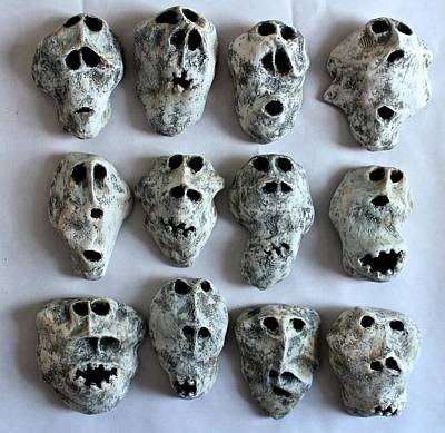 Primitive Mixed Media - Fabulas Wall Of Skulls  by Mark M  Mellon