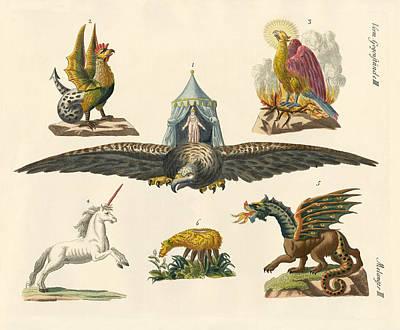 Phoenix Drawing - Fabulous Animals by Splendid Art Prints
