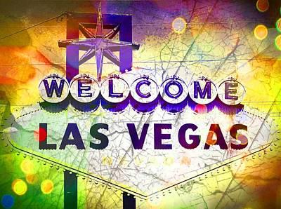 Las Vegas Artist Mixed Media - Fabulous Las Vegas by Michelle Dallocchio