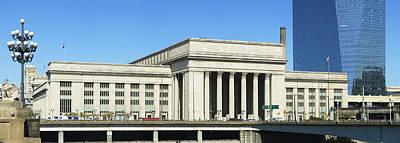 Facade Of A Building At A Railroad Art Print