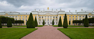 Facade Of A Palace, Peterhof Grand Art Print by Panoramic Images