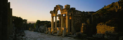 Ancient Civilization Photograph - Facade Of A Temple, Hadrian Temple by Panoramic Images