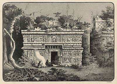 Maya Drawing - Facade Of One Of The Temples by Mary Evans Picture Library