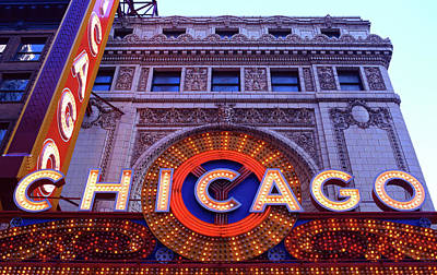 Nightlife Photograph - Facade Of The Chicago Theatre, State by Panoramic Images
