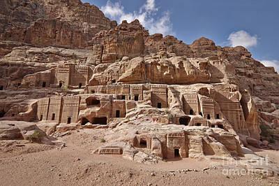 facade street in Nabataean ancient town Petra Original
