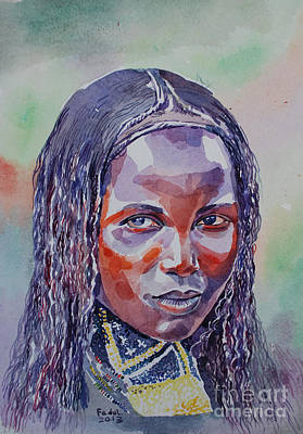 Painting - Face From Sudan  1 by Mohamed Fadul