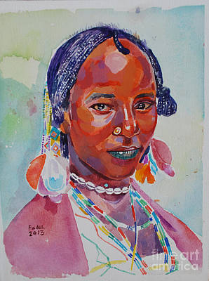 Painting - Face From Sudan  2 by Mohamed Fadul