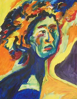 Painting - Face In Blue Terror by Esther Newman-Cohen
