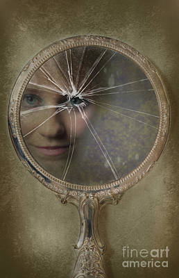 Wistful Photograph - Face In Broken Mirror by Amanda Elwell