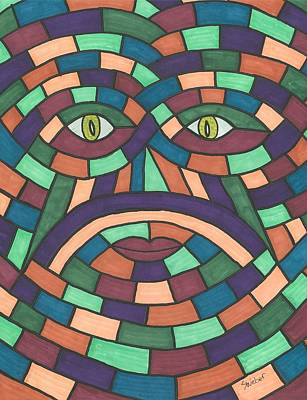 Art Print featuring the painting Face In The Maze by Susie Weber