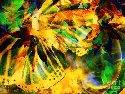 Face In The Rock Conjures Leaves Into Butterfly Art Print