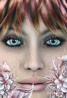 Digital Art - Face by Jutta Maria Pusl