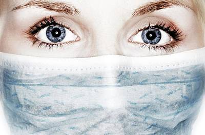 Face Mask Art Print by Crown Copyright/health & Safety Laboratory Science Photo Library