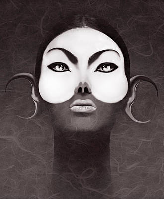 Face Moon Art Print by Yosi Cupano