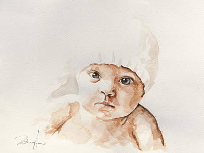 Colorful Painting - Face Of A Baby by Michael Tsinoglou