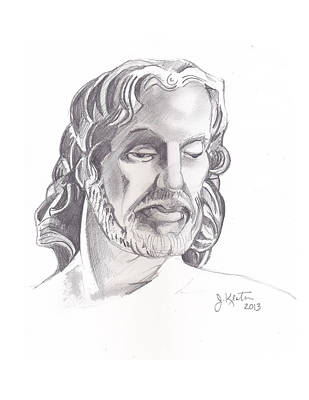 Jesus Drawing - Face Of Jesus by John Keaton