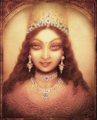 Goddess Durga Mixed Media - Face Of The Goddess Durga  by Ananda Vdovic