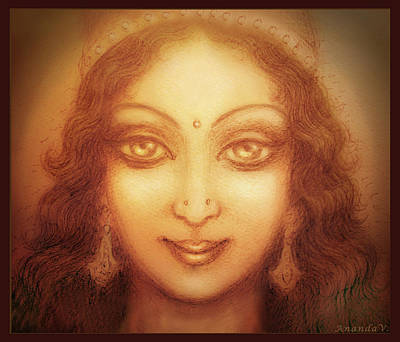 Art Print featuring the mixed media Face Of The Goddess/ Durga Face by Ananda Vdovic