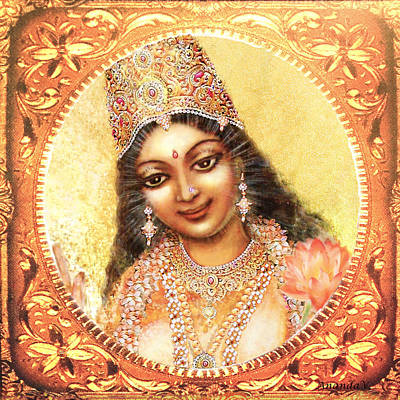 Art Print featuring the mixed media Face Of The Goddess - Lalitha Devi  by Ananda Vdovic