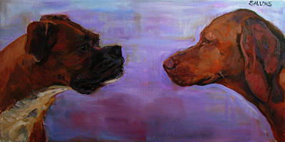 Boxer Painting - Face Off by Nora Sallows