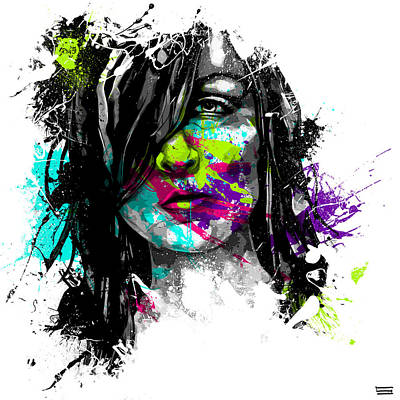 Splatter Digital Art - Face Paint 3 by Jeremy Scott