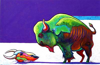 Buffalo Skull Painting - Face To Face Bison by Joe  Triano