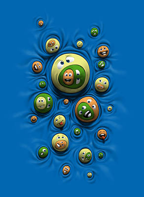 Art Print featuring the digital art Emoticontagious by Ben Hartnett