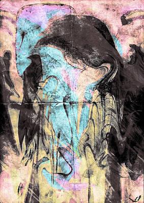 Faceless Girl With Her Crow Art Print by Linda Sannuti