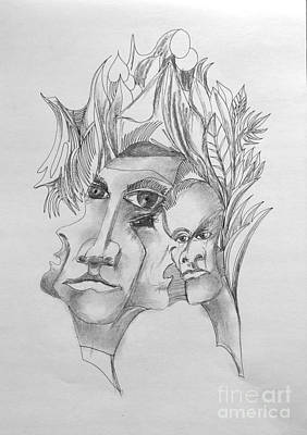 Drawing - Faces And Other Forms 3 by Padamvir Singh