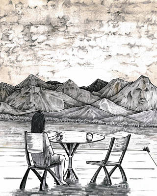 Contemplative Drawing - Faces In Landscape by Lee Serenethos