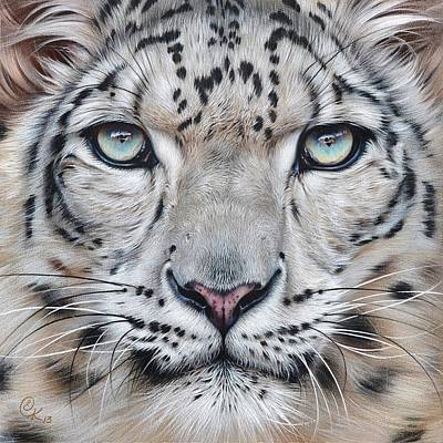 Snow Mixed Media - Faces Of The Wild - Snow Leopard by Elena Kolotusha