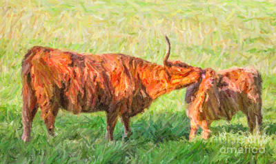 Cattle Digital Art - Facewash by Liz Leyden
