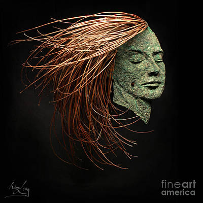 Black Background Mixed Media - Facing The Wind by Adam Long