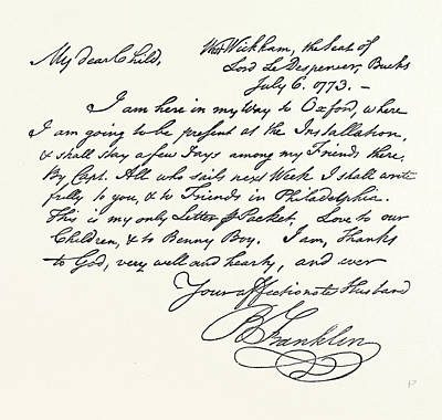 Facsimile Of A Letter From Benjamin Franklin Art Print by English School