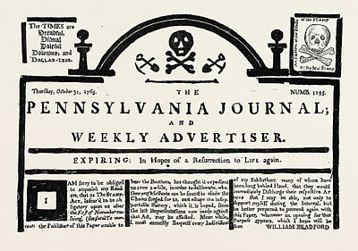 Pennsylvania Drawing - Facsimile Of The  Pennsylvania Journal  On The Stamp Act by English School