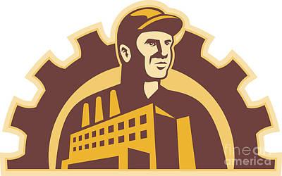Factory Worker Building Gear Cog Retro Art Print by Aloysius Patrimonio