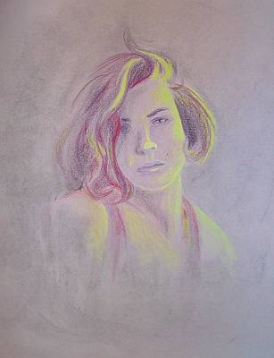 Self-portrait Drawing - Faded Dreams by Lucy Loo Wales