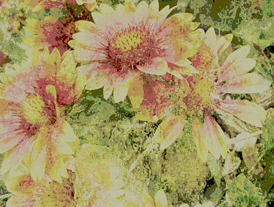 Faded Love Abstract Floral Art Art Print by Ann Powell