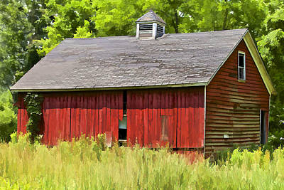 Photograph - Faded Red Farm House by David Letts