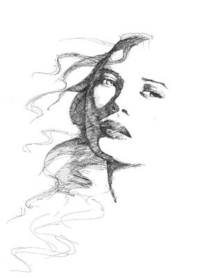 Fading Drawing - Fading Beauty by Alfred Stringer