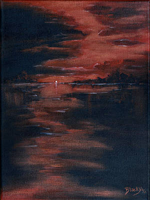 Nature Abstract Painting - Fading Light by Donna Blackhall