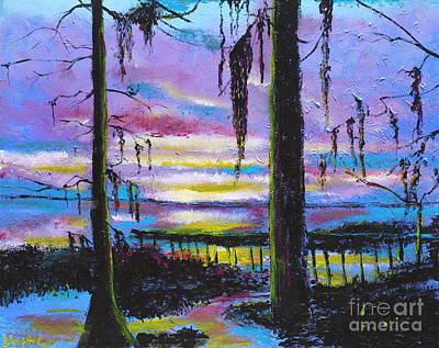 Lake Waccamaw Painting - Fading Light  On Lake Waccamaw by Stefan Duncan