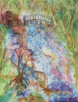 Mystical Landscape Painting - Faerie Falls by Ellen Levinson