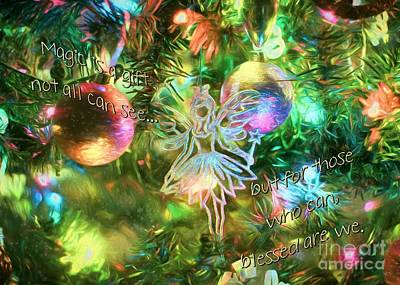 Dragonfly Ornament Photograph - Faerie Holiday by Peggy Hughes