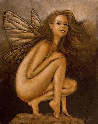 Sexy Fairy Painting - Faerie Portrait II by John Silver