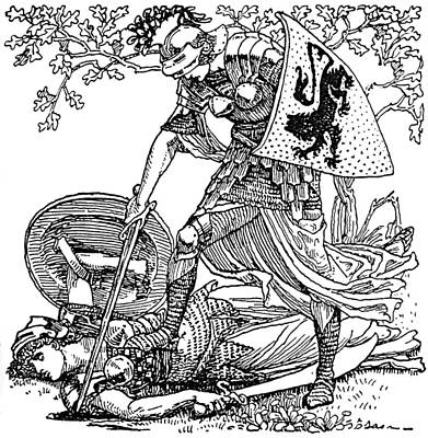 Black And White Fairy Drawing - Faerie Queene Knights Illustration by